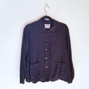 Flax linen button up blouse jacket